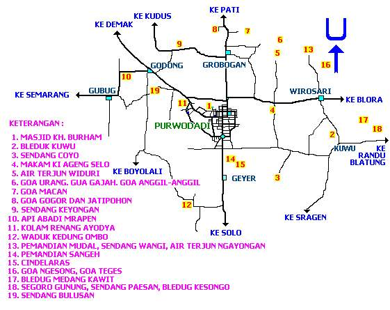 full peta wisata kabupaten grobogan jawa tengah indonesia