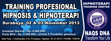 Training Hipnotis Profesional November 2013